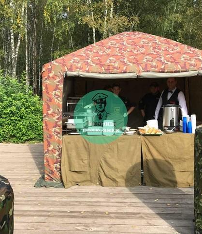Камуфлированный шатер для полевой кухни. Арендовать военный шатер в Москве